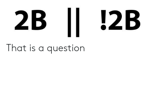 Question, That, and A Question: 2B !2B That is a question
