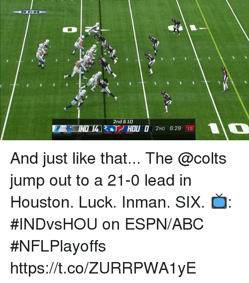 Abc, Indianapolis Colts, and Espn: 2nd & 10  2ND 6:29 15 And just like that... The @colts jump out to a 21-0 lead in Houston.  Luck. Inman. SIX.  📺: #INDvsHOU on ESPN/ABC #NFLPlayoffs https://t.co/ZURRPWA1yE