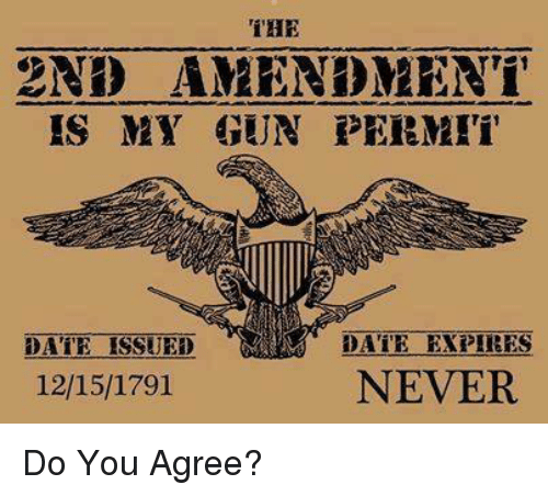 Memes, 2nd Amendment, and 🤖: 2ND AMEND MEN i  IS MY GUN PERMIT  DATE EXPIRES  DATE ISSUED  NEVER  12/15/1791 Do You Agree?