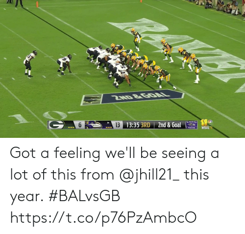 Memes, Goal, and Ravens: 2ND &GOAL  RAVENS  13 13:35 3RD 2nd & Goal  WBALTV  PRnDCTIONS Got a feeling we'll be seeing a lot of this from @jhill21_ this year.  #BALvsGB https://t.co/p76PzAmbcO
