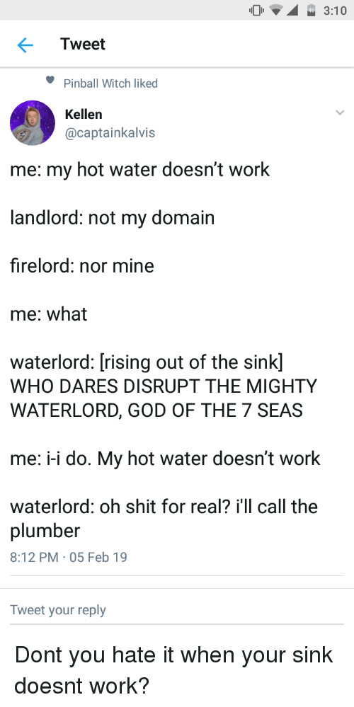 domain: 3:10  Tweet  Pinball Witch liked  Kellen  @captainkalvis  me: my hot water doesn't work  landlord: not my domain  firelord: nor mine  me: what  waterlord: [rising out of the sink]  WHO DARES DISRUPT THE MIGHTY  WATERLORD, GOD OF THE 7 SEAS  me: -i do. My hot water doesn't work  waterlord: oh shit for real? i'll call the  plumber  8:12 PM 05 Feb 19  Tweet your reply Dont you hate it when your sink doesnt work?