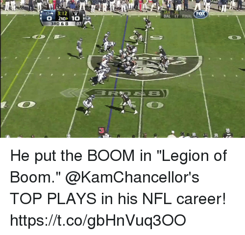 """Memes, Nfl, and Boom: 3:12  JAX 35  ox  O 2ND 10e  DAL 17 FINAL o  3RD &8  07  3 He put the BOOM in """"Legion of Boom.""""  @KamChancellor's TOP PLAYS in his NFL career! https://t.co/gbHnVuq3OO"""