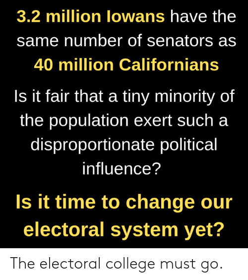 College, Memes, and Time: 3.2 million lowans have the  same number of senators as  40 million Californians  Is it fair that a tiny minority of  the population exert such a  disproportionate political  influence?  Is it time to change our  electoral system yet? The electoral college must go.