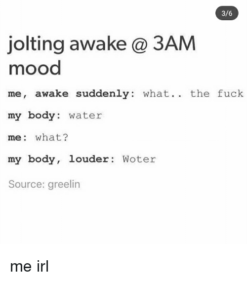 Mood, Fuck, and Water: 3/6  jolting awake@ 3AM  mood  me, awake suddenly: what.. the fuck  my body: water  me: what?  my body, louder Woter  Source: greelin