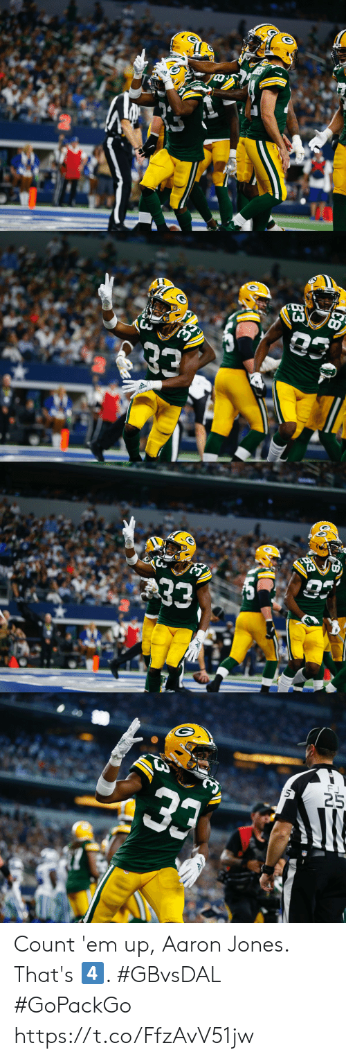 Memes, 🤖, and Aaron: 3  adidos   33  CB   FJ  25  5  33 Count 'em up, Aaron Jones.  That's 4️⃣. #GBvsDAL #GoPackGo https://t.co/FfzAvV51jw