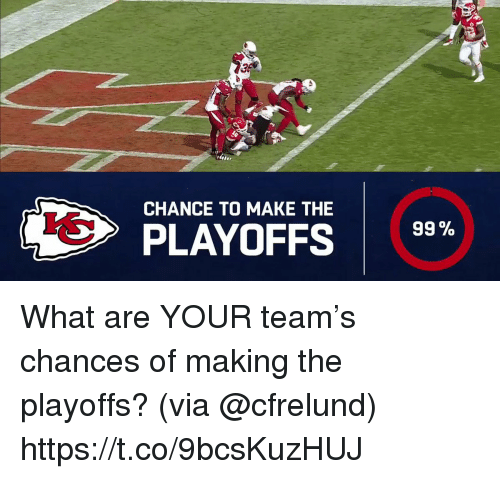 Memes, 🤖, and Team: 3  CHANCE TO MAKE THE  99%  PLAYOFFS What are YOUR team's chances of making the playoffs?  (via @cfrelund) https://t.co/9bcsKuzHUJ