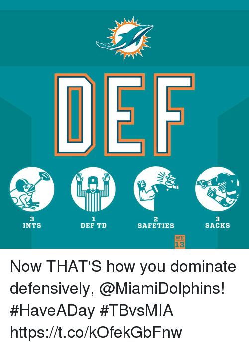 Memes, 🤖, and How: 3  INTS  1  DEF TD  2  SAFETIES  3  SACKS  WK  13 Now THAT'S how you dominate defensively, @MiamiDolphins! #HaveADay #TBvsMIA https://t.co/kOfekGbFnw
