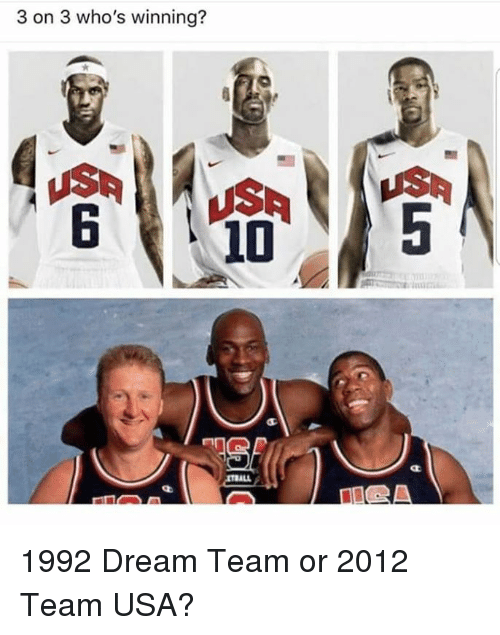 Nba, Usa, and Dream: 3 on 3 who's winning? 1992 Dream Team or 2012 Team USA?