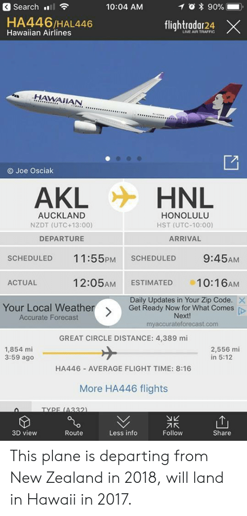 Traffic, Flight, and Forecast: 3 Search l  10:04 AM  0 * 90%-  HA446/HAL446  Hawaiian Airlines  flightradar24 ×  LIVE AIR TRAFFIC  .HAWAİİAN  O Joe Osciak  AKL  HNL  AUCKLAND  NZDT (UTC +13:00)  DEPARTURE  HONOLULU  HST (UTC-10:00)  ARRIVAL  SCHEDULED 11:55PM SCHEDULED 9:45AM  ACTUAL  12:05AM ESTIMATED 10:16AM  Daily Updates in Your Zip Code.  Your Local Weather  Accurate Forecast  Get Ready Now for What Comes p  Next!  myaccurateforecast.com  GREAT CIRCLE DISTANCE: 4,389 mi  1,854 mi  3:59 ago  2,556 mi  in 5:12  HA446 AVERAGE FLIGHT TIME: 8:16  More HA446 flights  TYPE (4332  刁K  Follow  3D view  Route  Less info  Share This plane is departing from New Zealand in 2018, will land in Hawaii in 2017.
