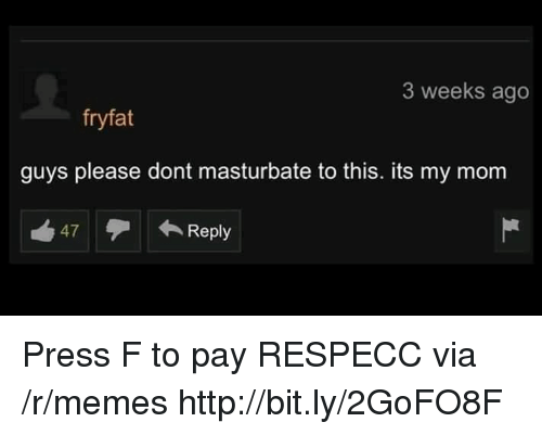 Memes, Http, and Mom: 3 weeks ago  fryfat  guys please dont masturbate to this. its my mom  47Reply Press F to pay RESPECC via /r/memes http://bit.ly/2GoFO8F