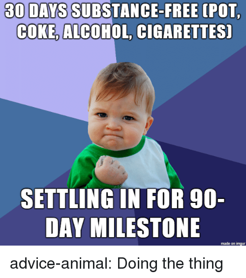 Advice, Tumblr, and Alcohol: 30 DAYS SUBSTANCE-FREE  (POT  COKE, ALCOHOL, CIGARETTES]  SETTLING IN FOR 90-  DAY MILESTONE  made on imgur advice-animal:  Doing the thing