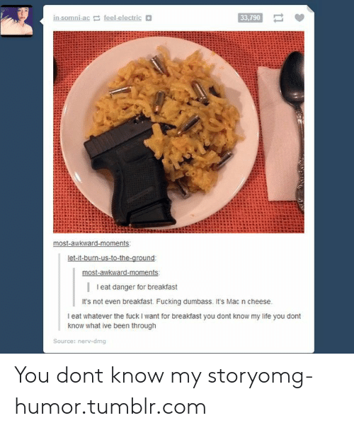 Fucking, Life, and Omg: 33,790  I eat danger for breakfast  It's not even breakfast. Fucking dumbass. It's Mac n cheese  I eat whatever the fuck I want for breakfast you dont know my life you dont  know what ive been through  Source: nerv-dmg You dont know my storyomg-humor.tumblr.com