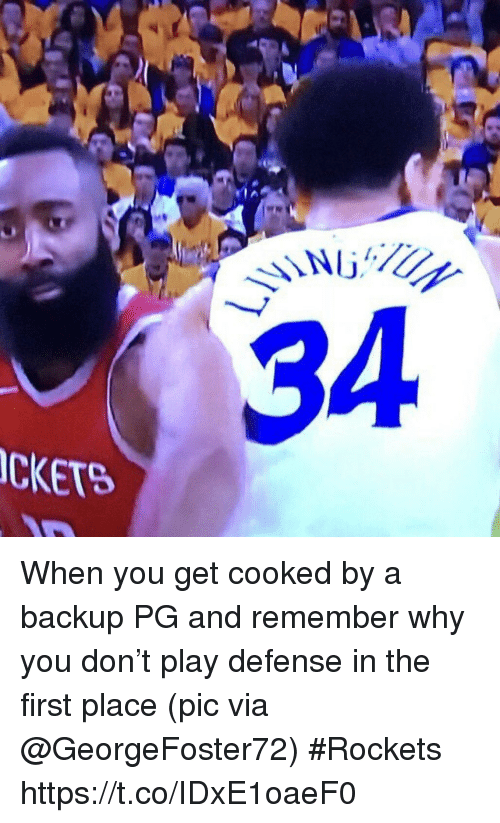 Sports, Rockets, and Via: 34  CKET When you get cooked by a backup PG and remember why you don't play defense in the first place  (pic via @GeorgeFoster72) #Rockets https://t.co/IDxE1oaeF0