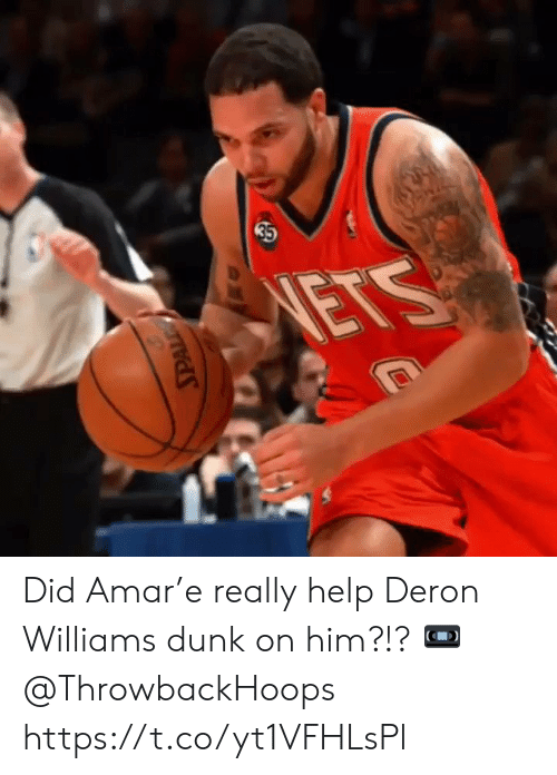Dunk, Memes, and Help: 35  NETS Did Amar'e really help Deron Williams dunk on him?!?   📼 @ThrowbackHoops https://t.co/yt1VFHLsPl