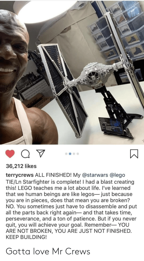 Beings: 36,212 likes  terrycrews ALL FINISHED! My @starwars @lego  TIE/Ln Starfighter is complete! I had a blast creating  this! LEGO teaches me a lot about life. I've learned  that we human beings are like legos- just because  you are in pieces, does that mean you are broken?  NO. You sometimes just have to disassemble and put  all the parts back right again- and that takes time,  perseverance, and a ton of patience. But if you never  quit, you will achieve your goal. Remember- YOU  ARE NOT BROKEN, YOU ARE JUST NOT FINISHED.  KEEP BUILDING! Gotta love Mr Crews