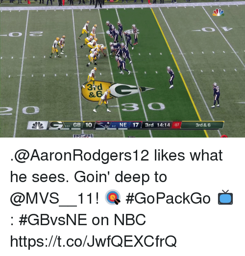 Memes, 10 2, and 🤖: 37d  331 GB 10  2 NE17 3rd 14:14 :07  3rd & 6 .@AaronRodgers12 likes what he sees.  Goin' deep to @MVS__11! 🎯 #GoPackGo  📺: #GBvsNE on NBC https://t.co/JwfQEXCfrQ