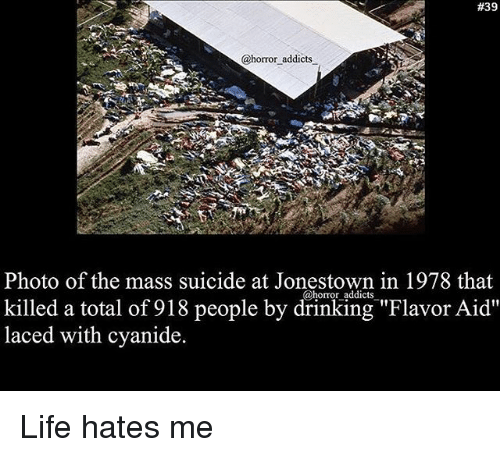 """Drinking, Life, and Memes:  #39  @horror addicts  Photo of the mass suicide at Jonestown in 1978 that  killed a total of 918 people by drinking """"Flavor Aid""""  laced with cyanide.  @horror addicts Life hates me"""