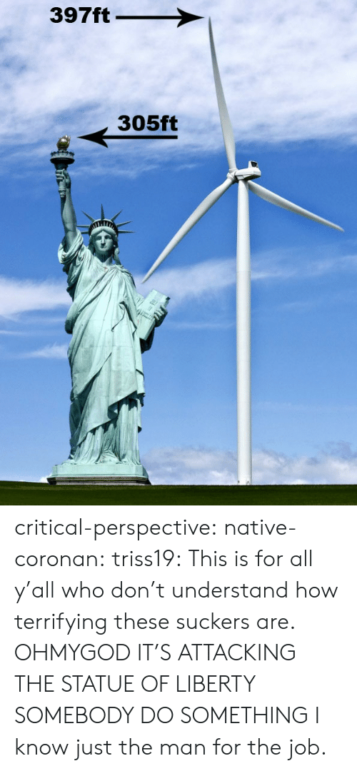 Tumblr, Blog, and Http: 397ft  305ft critical-perspective:  native-coronan:  triss19:  This is for all y'all who don't understand how terrifying these suckers are.  OHMYGOD IT'S ATTACKING THE STATUE OF LIBERTY SOMEBODY DO SOMETHING   I know just the man for the job.