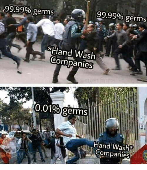 Germs, Companies, and Hand: 399.99%, germs  99.99% germs  Hand Wash  2 Companies  0.01% germs  Hand Washs  COompanies