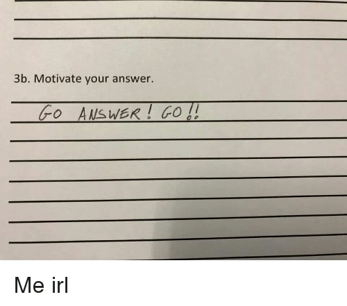 Irl, Me IRL, and Answer: 3b. Motivate your answer.  oAsWER GO Me irl