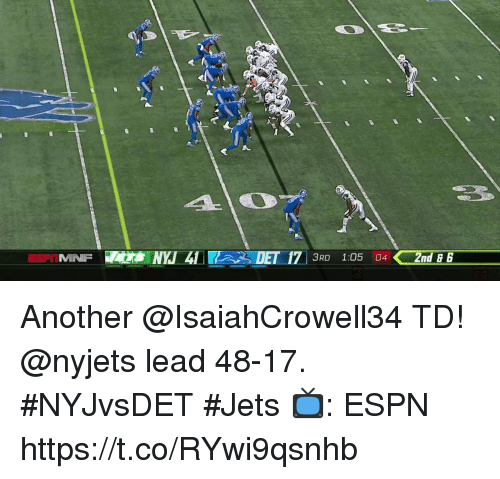 Espn, Memes, and Jets: 3RD 1:05 042nd6 Another @IsaiahCrowell34 TD!  @nyjets lead 48-17. #NYJvsDET #Jets  📺: ESPN https://t.co/RYwi9qsnhb