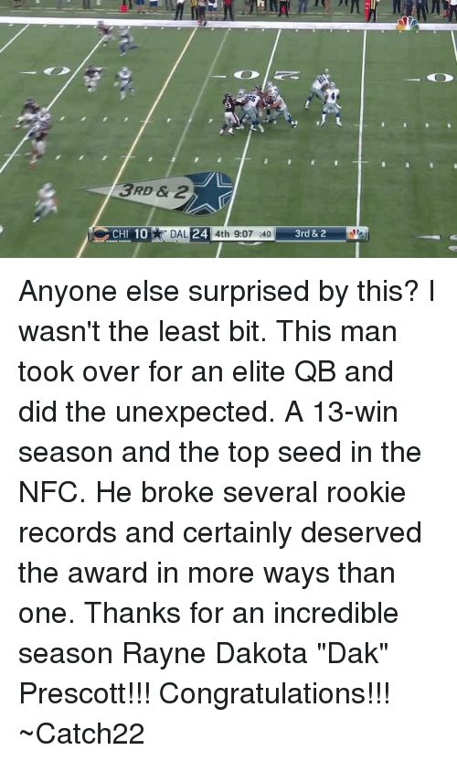 "Unexpectable: 3RD & 2  24  CHI 10  DAL  4th 9:07 :40  3rd &2 Anyone else surprised by this?  I wasn't the least bit.  This man took over for an elite QB and did the unexpected.  A 13-win season and the top seed in the NFC.  He broke several rookie records and certainly deserved the award in more ways than one.  Thanks for an incredible season Rayne Dakota ""Dak"" Prescott!!!  Congratulations!!!  ~Catch22"