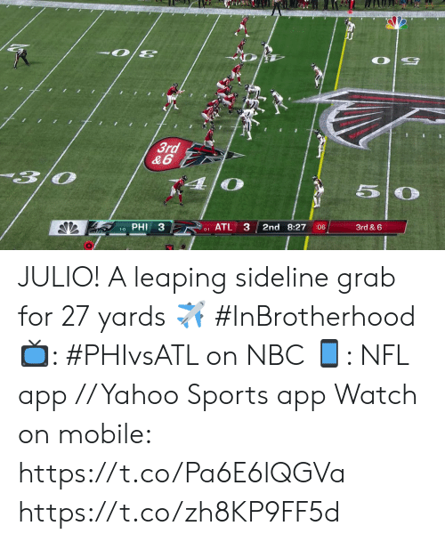 Memes, Nfl, and Sports: 3rd  &6  PHI 3  ATL 3  2nd 8:27  3rd & 6  :06  1-0  0-1 JULIO!  A leaping sideline grab for 27 yards ✈️ #InBrotherhood  📺: #PHIvsATL on NBC 📱: NFL app // Yahoo Sports app Watch on mobile: https://t.co/Pa6E6lQGVa https://t.co/zh8KP9FF5d