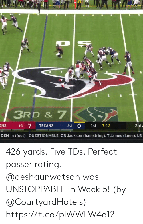 Memes, Texans, and 🤖: 3RD & 7  7  2-2 0 1st 7:12  1-3  TEXANS  3rd  DEN n  (foot) QUESTIONABLE: CB Jackson (hamstring), T James (knee), LB 426 yards. Five TDs. Perfect passer rating.   @deshaunwatson was UNSTOPPABLE in Week 5! (by @CourtyardHotels) https://t.co/plWWLW4e12