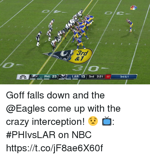Crazy, Philadelphia Eagles, and Memes: 3rd  PHI 23  2LAR 13 3rd 2:21 :07  3rd & 1 Goff falls down and the @Eagles come up with the crazy interception! 😧  📺: #PHIvsLAR on NBC https://t.co/jF8ae6X60f