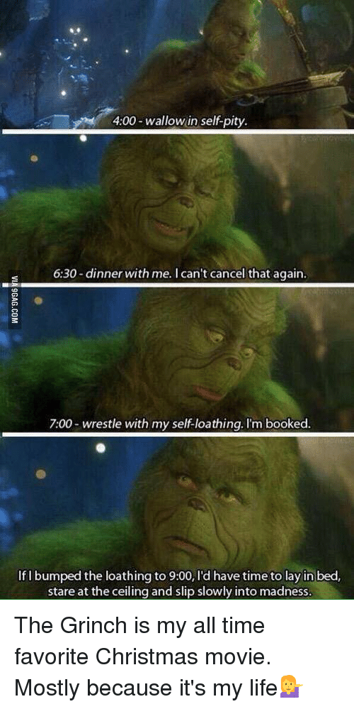 Books, Christmas, and The Grinch: 4:00 wallow in self pity.  6:30-dinner with me. I can't cancel that again.  7:00 wrestle with my self-loathing. I'm booked.  If I bumped the loathing to 9:00, l'd have time to lay in bed,  stare at the ceiling and slip slowly into madness. The Grinch is my all time favorite Christmas movie. Mostly because it's my life💁