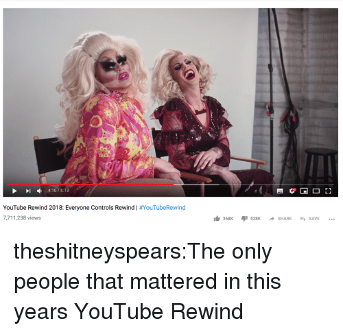 Target, Tumblr, and youtube.com: 4:10/8:13  YouTube Rewind 2018: Everyone Controls Rewind | #YouTubeRewind  7,711,238 views  lb 368K ,1528K -SHARE-+  SAVE theshitneyspears:The only people that mattered in this years YouTube Rewind