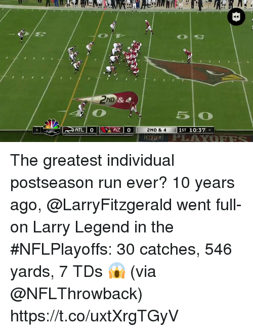 Memes, Nfl, and Run: & 4  ATLI 0  2ND & 4  1ST 10:37  NFL  NFI The greatest individual postseason run ever?  10 years ago, @LarryFitzgerald went full-on Larry Legend in the #NFLPlayoffs: 30 catches, 546 yards, 7 TDs 😱  (via @NFLThrowback) https://t.co/uxtXrgTGyV