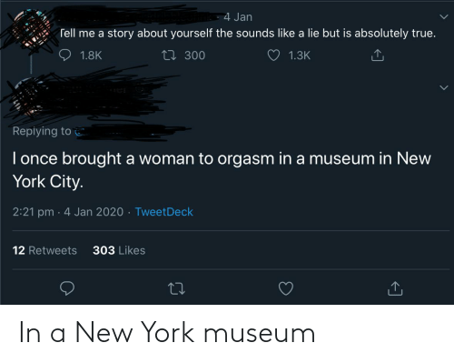 in-new-york-city: 4 Jan  Tell me a story about yourself the sounds like a lie but is absolutely true.  27 300  1.8K  1.3K  Repiying to  I once brought a woman to orgasm in a museum in New  York City.  2:21 pm · 4 Jan 2020 · TweetDeck  303 Likes  12 Retweets In a New York museum