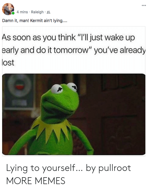 """Dank, Memes, and Soon...: 4 mins Raleigh R  Damn it, man! Kermit ain't lying....  As soon as you think """"I'll just wake up  early and do it tomorrow"""" you've already  lost Lying to yourself… by pullroot MORE MEMES"""
