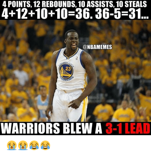 rebounder: 4 POINTS, 12 REBOUNDS, 10 ASSISTS, 10 STEALS  4+12+10+10-36. 36-5-31  @NBAMEMES  23  ARO  WARRIORS BLEW A  3-1 LEAD 😭😭😂😂