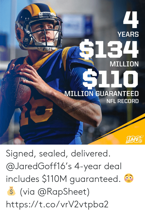 Memes, Nfl, and Record: 4  YEARS  $134  $110  MILLION  MILLION GUARANTEED  NFL RECORD  190  NFL Signed, sealed, delivered.  @JaredGoff16's 4-year deal includes $110M guaranteed. 😳💰  (via @RapSheet) https://t.co/vrV2vtpba2