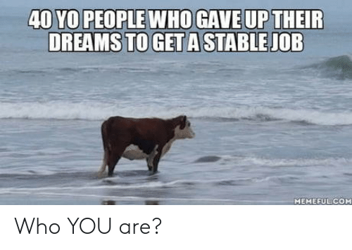 Yo, Dreams, and Job: 40 YO PEOPLE WHOGAVE UP THEIR  DREAMS TO GET A STABLE JOB  MEMEFUL COM Who YOU are?