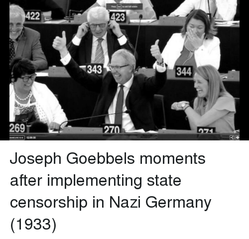 Censorship: 422  23  343  344  269  70 Joseph Goebbels moments after implementing state censorship in Nazi Germany (1933)