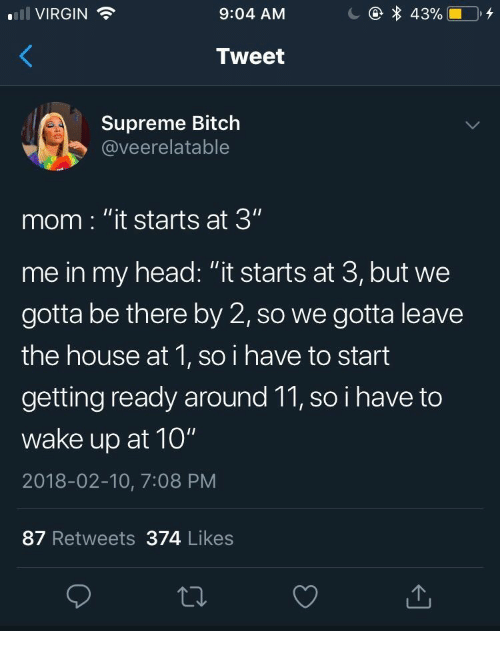 "Bitch, Head, and Supreme: 43%  VIRGIN  9:04 AM  Tweet  Supreme Bitch  @veerelatable  mom : ""it starts at 3""  me in my head: ""it starts at 3, but we  gotta be there by 2, so we gotta leave  the house at 1, so i have to start  getting ready around 11, so i have to  wake up at 10""  2018-02-10, 7:08 PM  87 Retweets 374 Likes"
