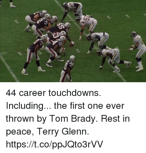 Memes, Tom Brady, and Peace: 44 career touchdowns. Including... the first one ever thrown by Tom Brady.  Rest in peace, Terry Glenn. https://t.co/ppJQto3rVV