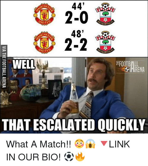 Memes, Match, and 🤖: 44'  CHE  2-0  48'  2-2  UNITE  S WELL  RENA  THAT ESCALATED QUICKLY What A Match!! 😳😱 🔻LINK IN OUR BIO! ⚽️🔥