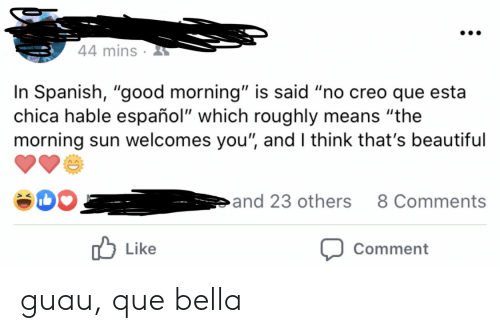 """Beautiful, Spanish, and Good Morning: 44 mins  In Spanish, """"good morning"""" is said """"no creo que esta  chica hable español"""" which roughly means """"the  morning sun welcomes you"""", and I think that's beautiful  and 23 others  8 Comments  Like  Comment guau, que bella"""