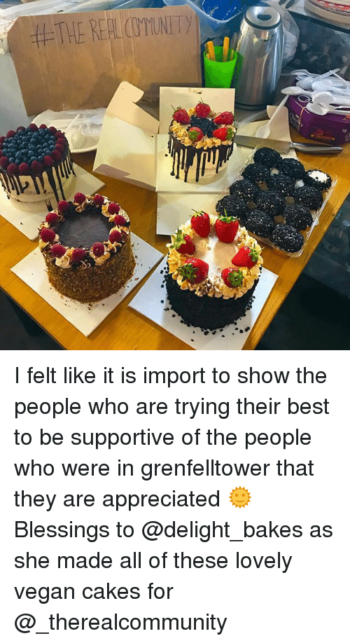 Memes, Vegan, and Best: 44,THE REALCUYUNITy I felt like it is import to show the people who are trying their best to be supportive of the people who were in grenfelltower that they are appreciated 🌞 Blessings to @delight_bakes as she made all of these lovely vegan cakes for @_therealcommunity