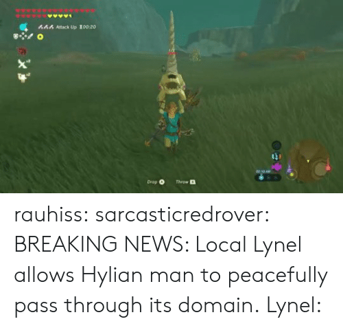 domain: 444 Attack Up 100:20  Drop O  Throw rauhiss:  sarcasticredrover:  BREAKING NEWS: Local Lynel allows Hylian man to peacefully pass through its domain.  Lynel: