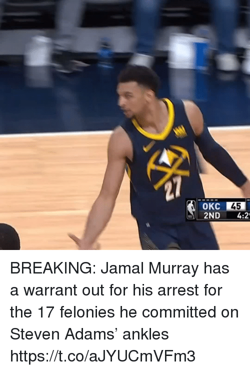 Sizzle: 45  2ND 4:2 BREAKING: Jamal Murray has a warrant out for his arrest for the 17 felonies he committed on Steven Adams' ankles https://t.co/aJYUCmVFm3
