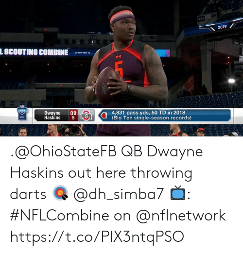 Memes, Single, and 🤖: 450  2019  349  L SCOUTING COMBINE  presented by  COMBINE  Dwayne QB  Haskins  4,831 pass yds, 50 TD in 2018  Big Ten single-season records) .@OhioStateFB QB Dwayne Haskins out here throwing darts 🎯 @dh_simba7  📺: #NFLCombine on @nflnetwork https://t.co/PlX3ntqPSO