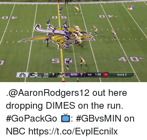 Memes, Run, and 🤖: 451 GB 7  541 MIN 71st 1:36 :05  2nd & 2 .@AaronRodgers12 out here dropping DIMES on the run. #GoPackGo  📺: #GBvsMIN on NBC https://t.co/EvplEcnilx