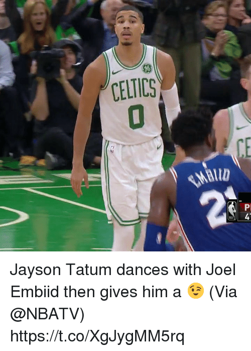 Memes, Celtics, and 🤖: 46  CELTICS  2 Jayson Tatum dances with Joel Embiid then gives him a 😉   (Via @NBATV)    https://t.co/XgJygMM5rq