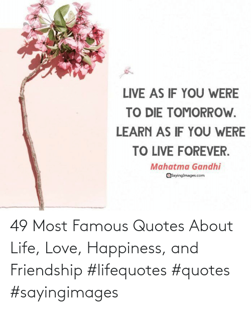 About: 49 Most Famous Quotes About Life, Love, Happiness, and Friendship #lifequotes #quotes #sayingimages