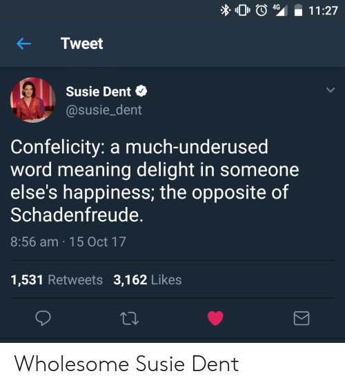Meaning, Word, and Wholesome: 4G  11:27  KTweet  Susie Dent  @susie_dent  Confelicity: a much-underused  word meaning delight in someone  else's happiness, the opposite of  Schadenfreude.  8:56 am 15 Oct 17  1,531 Retweets 3,162 Likes Wholesome Susie Dent